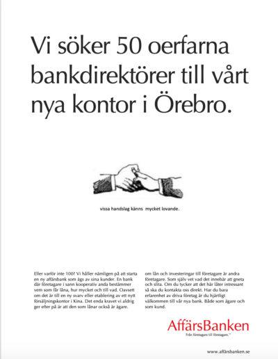 Skiss till annons ur reklamkampanj för AffärsBanken