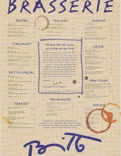 Copywriting meny för Brasseri Britto