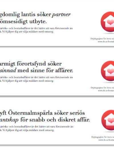 Annonser ur reklamkampanj för DN Bostad