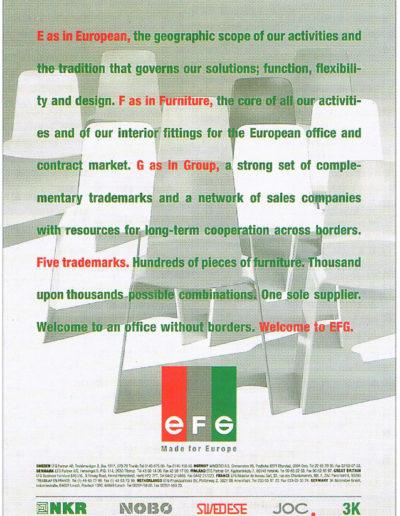 Namn, logotyp, annons för EFG